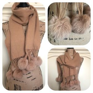 Accessories - 100% Wool Scarf, Rabbit Fur Pompoms in Camel Color